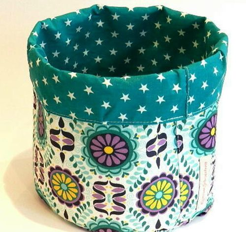 reversible cotton basket RETRO FLOWER washable