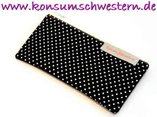 "pencil case flat ""POLKA DOTS BLACK"" cotton"