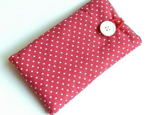 smartphone cover - POLKA DOTS PINK - button