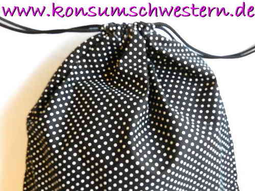 gymbag with strings - POLKA DOTS BLACK padded