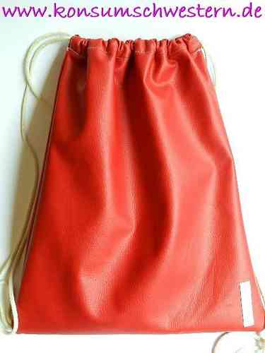 gymbag faux leather - RED - with strings