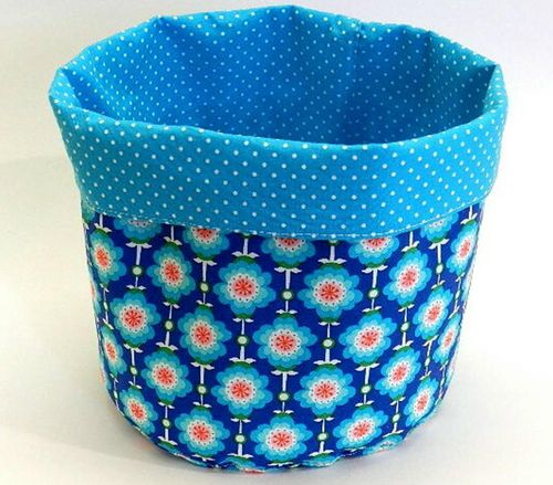 cotton fabric basket - HAWAIIAN FLOWERS ROYAL