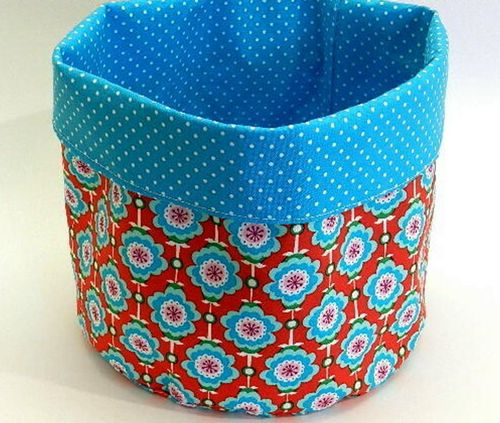 cotton fabric basket - HAWAIIAN FLOWERS RED
