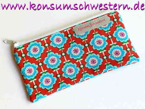 "pencil case flat ""HAWAIIAN FLOWERS RED"" cotton"