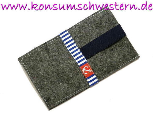 smartphone cover felt - ANCHOR and STRIPES
