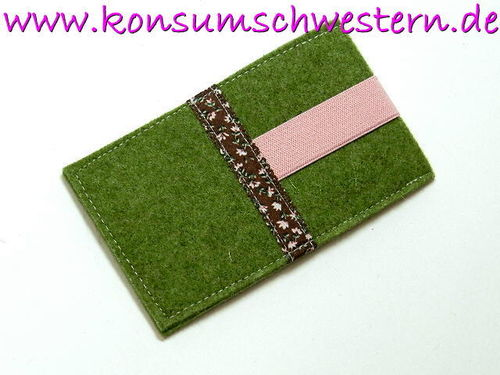 cell phone cover felt - FLOWERS ON BROWN green