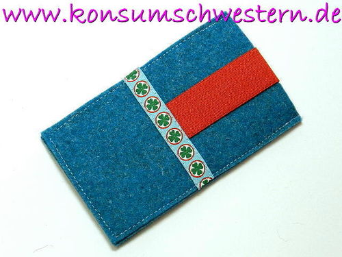 cellphone cover felt FOUR-LEAF CLOVER turquois
