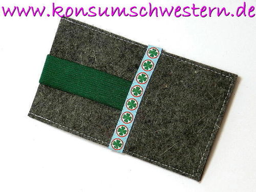 smartphone cover felt - FOUR-LEAF CLOVER grey