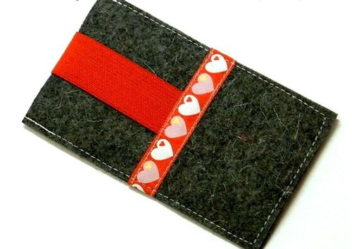 smartphone cover felt - GRAZIELA® HEARTS RED