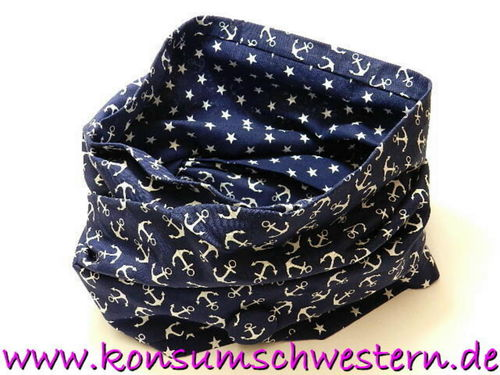 loop scarf - ANCHORS ON BLUE and STARS ON BLUE