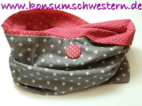loop scarf - STARS ON GREY - cotton fabric