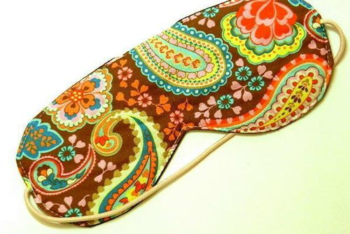 sleeping eye mask PAISLEY ON BROWN rubber band