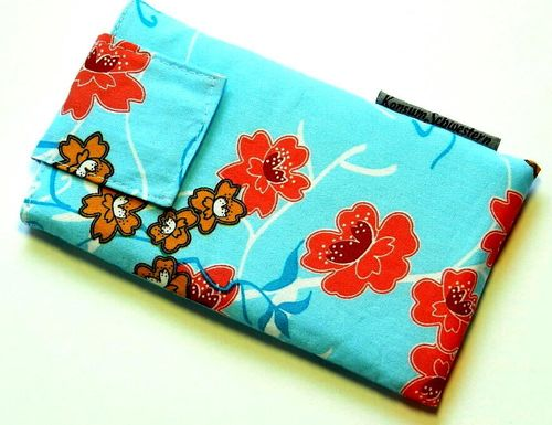 phone cover - JAPANESE FLOWERS TURQUOIS strap