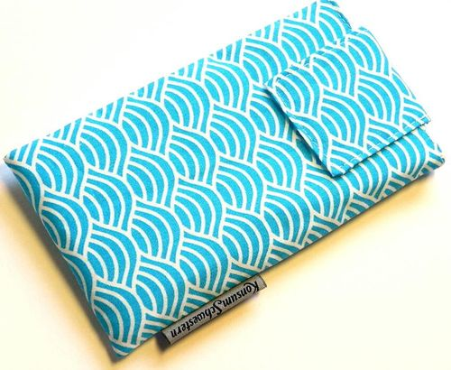 phone cover - JAPANESE WAVES TURQUOIS - strap