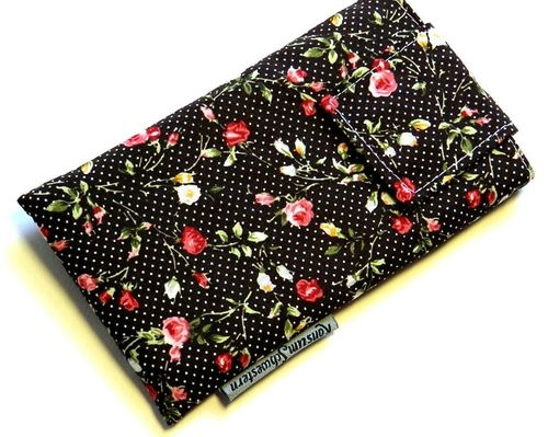 smartphone cover - ROSES ON DARK BROWN strap