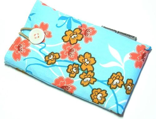 phone cover - JAPANESE FLOWERS TURQUOIS button