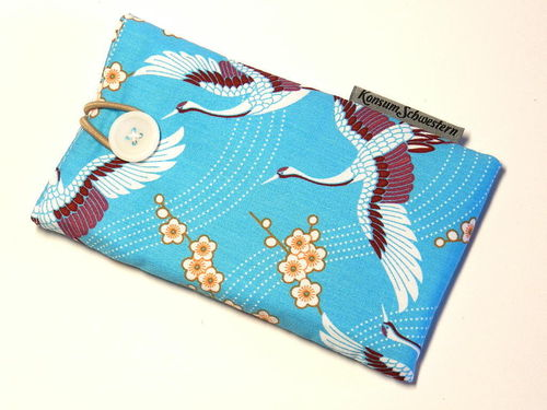 phone cover - JAPANESE CRANES TURQUOIS button