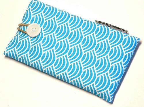 phone cover - JAPANESE WAVES TURQUOIS - button