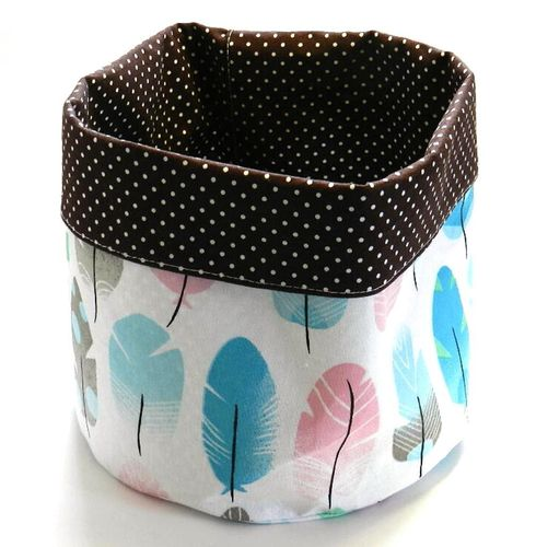 basket - FEATHERS and POLKA DOTS DARK BROWN