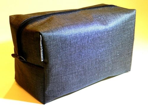 toiletry bag - GREY - coated cotton fabric