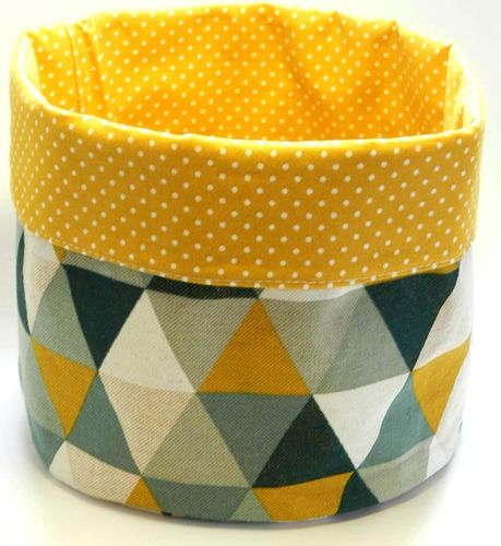 basket - TRIANGLES GREEN YELLOW and POLKA DOTS