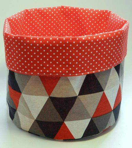 basket - TRIANGLES RED BEIGE and POLKA DOTS