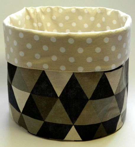 basket - TRIANGLES GREY BEIGE and POLKA DOTS