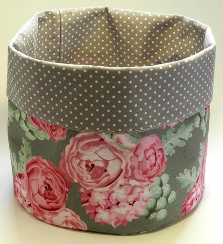 basket - ROSES GREY and POLKA DOTS GREY
