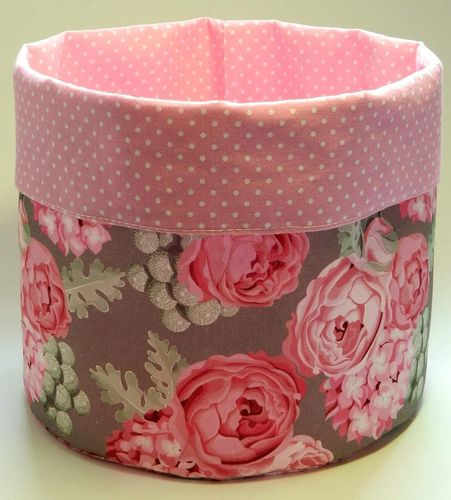 basket - ROSES GREY and POLKA DOTS PINK