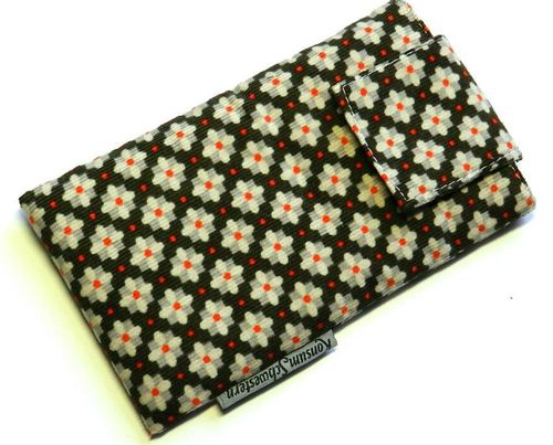 smartphone cover cord GREY FLOWERS with strap