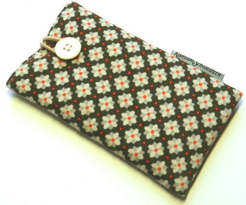 smartphone cover cord GREY FLOWERS with button