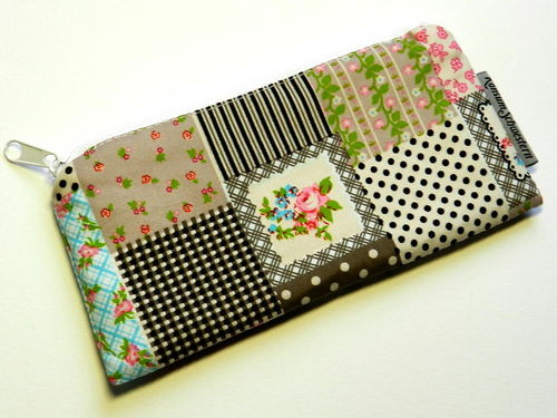 pencil case flat cotton - PATCHWORK LOOK ROSES